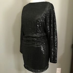 Parker Long Sleeve Sequin Dress With Low Cut Back